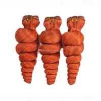 مزدوجة اللفت فضفاضة مجعد الشعر لحمة الملحقات 10-30 بوصة 300 جرام الملونة البرتقالية الشعر البشري نسج غريب مجعد الشعر 3/pundles