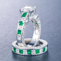 Cluster Rings 2021 Luxury Green Blue Color Princess Wedding Ring Set For Women Lady Anniversary Gift Jewelry Bulk Sell Moonso R5835