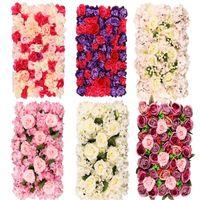 Decorative Flowers & Wreaths 60x40cm Artificial Flower Rose Diy Wedding Decoration Wall Panels Silk Pink Romantic Backdrop Decor