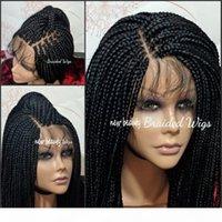 Partie libre Boîte Tressages Wig Black Brown Blonde Rouge Brésilienne pleine dentelle avant Perruque Jumbo tresse synthétique perruque bébé cheveux résistant à la chaleur