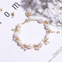 Super Fairy Baroque Natural Fresh Water Pearl Armband Dames Speciale Franse Net Rode Armbanden 16 cm