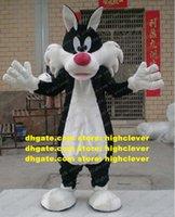 스마트 블랙 실베스터 고양이 마스코트 의상 마스코트 Moggie 새끼 고양이 늑대 늑대 늑대 성인 큰 흰색 귀가 큰 빨간 코 No.2579 무료 배