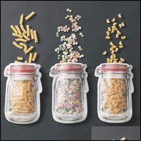 Casa Organização Home Gardensafe Zippers Armazenamento Sacos Plástico Mason Jar em forma de Recipiente de Alimentos Resolable Eco Friendly Snacks Bag 2 2PJ