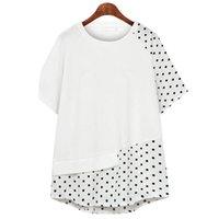 Geskeey Blusas De Lino Sin Manga Mujer Plus Size Summer Polka Dot Chiffon Short Sleeve Shirt With Lrregular Splici Women's T-Shirt