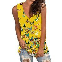 Women's T-Shirt Summer Vest Top Sexy V Neck Sleeveless T Shirt Printing Short-sleeved Fashionable Plus Size #T1G