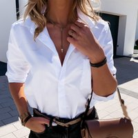 Women's Blouses & Shirts Female shirt long sleeve white and black smooth, female turtleneck down, casual office, autumn 31KJ