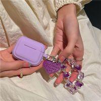 Luxury Love Pinkycolor Airpods Case 1 2 Bracte Chain для Pro Bluetooth Набор наушников AirPod Box Protector
