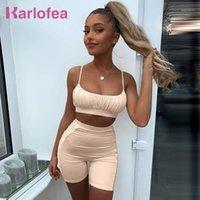 Karlofea Frauen Sexy Fashion 2 Stück Shorts Set Sommer Chic Rube Shinny Trainingsanzug New Lounge Tragen Anzug Casual Sreetwear Outfits1