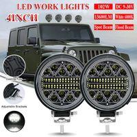 LED-Arbeitslicht-Bar Off Road 12V 24V-Spot-Beleuchtungsstangen für Lkw-SUV 4WD 4x4 Boot ATV-Jeep-Traktor Nebelscheinwerfer-Fahrzeug-Birne 4inch 102W