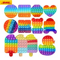 DHL 50 pcs Rainbow Funny Pops It Fidget Toy Antistress Toys ...