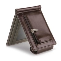 Wallets Men's Wallet PU Leather Coin Bag Women Short Men Type ID Holders Hasp Creative Metal Clip Money Purse
