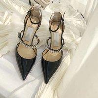 moda lujoso diseñador sandalias de diseño de verano vestido de banquete de verano zapatos de tacón de tacón sexy de tacón de tacón de cabeza puntiagudo de punta eslinga espalda mujer zapato de alta calidad de la UE Tamaño 35-40