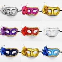 Parti Maskesi Cadılar Bayramı Düz Kafa Boyalı Yan Çiçek Kenar Kadın Masquerade Dans Performans Moda