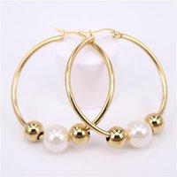 Portez des boucles d'oreilles gratuites Choix de 30mm-70mm Accessoires Femmes Gold / Silver / Rose / Color Activity Perles avec Hoop Huggie