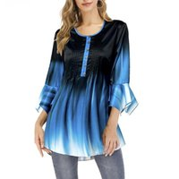 Women's Blouses & Shirts Women Fashion O Neck Ruffled Sleeve Gradient Color Pleated Blouse Tunic Top