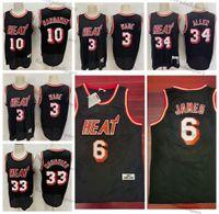 Винтаж 2011 баскетбол майки Dwyane # 3 Уэйд Тим 10 Замороженное Ray # 34 Allen Alonzo # 33 скорбильный черный 6 Джеймс сшитые рубашки