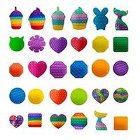Rainbow Tie Dye Silicone Pioneer Fidget Children's Fidget Toys Push OP IT BUBLE ESTUDIANTES PULSE PLACA PLACA DE DECOMPRESIÓN DE PUERTE DE PUBLICACIÓN JUEGO PUCHEZE TOY H41FCHT