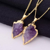 LLiang Purple Crystal Natural Stone Pendant Necklace Arrow Healing Gold For Women Men Gilt Jewelry Necklaces