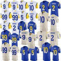 2021 homens 9 Matthew Stafford 99 Aaron Donald Football Jerseys 10 Cooper Kupp 2 Robert Woods 5 Jalen Ramsey White Jersey