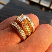 Wedding Rings 3Pcs Set Fashion Geometry Square Crystal Sets For Women Girls Engagement Ring Female Party Boho Jewelry Gifts