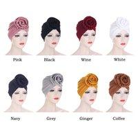 2021 Flower Women Canner Muslim Hijabs Beanie Skullies Hat Stretch Turban Hat Cap Hair Loss Chemo Under Scarf Headwear Bonnet Cover