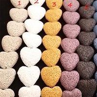 Collier de pendentif de la lave de la lave 9 couleurs Aromatherapy Huile Essential Diffuseur Colliers en pierre de coeur pour femmes Mode bijoux 444 Q2