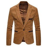 Men's Suits & Blazers 2021 Brand Suit Jackets Solid Slim Fit Single Button Dress Men Fashion Casual Corduroy Blazer