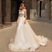 Champagne Dresses 2021 Sexy Backless Lace Appliques 3D Flowers Cap Sleeves Bride Dress Wedding Gowns Vestido De Noiva