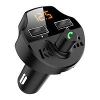 자동차 FM 송신기 블루투스 5.0 자동차 MP3 플레이어 변조기 어댑터 배터리 전압 핸즈프리 듀얼 USB 스마트 칩 T66