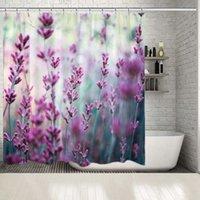 샤워 커튼 커튼 라벤더 필드 향기로운 꽃 여름 정원 식물 자연 테마 홈 장식 라일락 색상