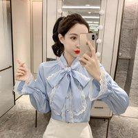 Women's Blouses & Shirts Blusa feminina de manga longa com laço, camisa estilo coreano casual trabalho ol cores sólidas, blusas w101, outono 5YLW