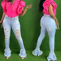 Women's Jeans Wjustforu Ripped For Women Clothes Fashion Skinny Bell Bottom Flare Female Casual Elegant Hole Party Denim Pants