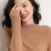 Женские свитера 100% чистые кашемировые пуловеры зима новое поступление высокие шеи джемперы женщина трикотаж девушка одежда леди топ 8 цветов