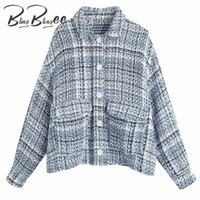 Women's Jackets BlingBlingee Spring Autumn Drop Shoulder Sleeve Textured Check Jacket Single Breasted Women Casual Loose Plaid Coat Female T