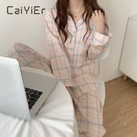 Caiyier Cute Grid Girls Pajamas Набор Корейская Осень Зима Новый Длинный Рукав Досуг Сорта Женская Свободная ночная одежда