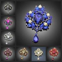 Broche de lujo Broche Estilo Vintage Gota de agua grande para mujer Joyería Colorido Flor Pin Rhinestone Crystal Brochar Broach Wedd