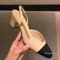 أحذية عالية الكعب أزياء جلد طبيعي مفتوحة على الصنادل الرسمية كعب مكتنزة صنادل