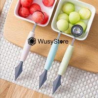 2 in1 Dual Kopf Edelstahl Carving Messer Fruchtkugel Wassermelone Eis Baller Scoop Stacks Löffel Startseite Küche Zubehör