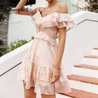Simplee Sexy V-Ausschnitt Polka Dot Print Frauen Kleid Sommer Urlaub Stil Hohe Taille Rüschen Mini Kleider Mode A-Linie Weibliche Kleid 210413