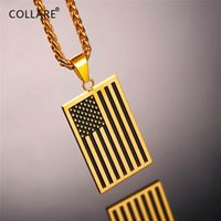 Collare US Flag Pendant 316L Stainless Steel Sign Gold Color Dog Tag Men Jewelry American Style Necklace Women P712 Chains