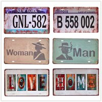 Nouveau numéro de voiture Vintage Metal Panches de moto Plaques d'immatriculation Art Poster Peinture Garage Accueil Décor mural Plaque Cadeau 15 * 30cm N170