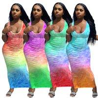 캐주얼 드레스 여름 드레스 슬리브 캐미솔 조끼 구름 그라디언트 포지셔닝 민소매 의류 플러스 사이즈 S / M / L / XL / 2XL