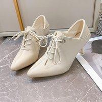 Dress Shoes Autumn Women's High Heels Platform Zlah Pointed Toe Cross Lace Black Party White Wedding