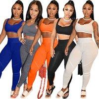 Mujeres Dos Piezas Pantalones Moda Slim Sexy Color Sólido Yoga Traje deportivo Sin mangas Leggings U-Cuello Línea Puntotra Sportwear S-XXL
