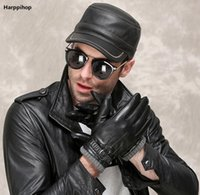 Harppihop зимние мужские натуральные кожаные шляпы 2021 бренд мода теплые черные коровьиные реальные крышки широкие краевые