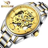Altın Uhren Them Luxus Top Marke Edelstahl Modu İskelet Automatische Mechanische Relogio Masculino Saatı