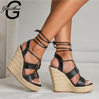 Roman Sandals Female 2021 Black Heels Cross Ankle Straps Thi...