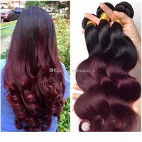 Grade 8A Ombre Malaysian Body Wave Virgin Human Hair Extensions 2 Two Tone 1B 99J Burgundy Wine Red Remy Hair Weave Weft Bundles