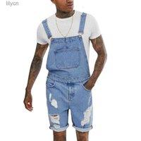 Jeans Men's Overall Shorts Fashion Casual Zipper Torn Open Waist Lightweight Retro Denim Jumpsuit Blue Ripped Hip Hop