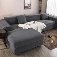 Chair Covers Elastic Polar Fleece Plain Stretch Sofa For Living Room Couch Cover Protector L Shape Slipcover 1 2 3 4 Seater